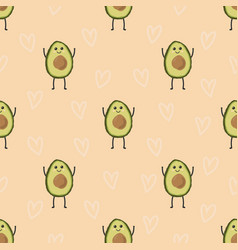 pattern with cartoon avocado vector image