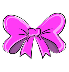 Pink bow on white background vector