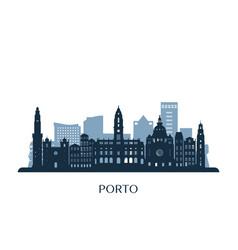 Porto skyline monochrome silhouette vector
