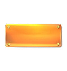 Realistic rectangular golden plate with gold vector