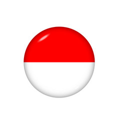 Round flag indonesia button icon glossy badge vector