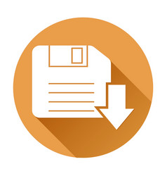 save or download icon orange round sign vector image