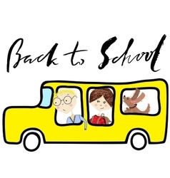 School bus Kids riding on school bus Handwritten vector