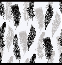 seamless pattern with graphic feather vector image