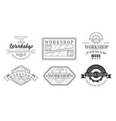 set logos for workshop and blacksmiths vector image