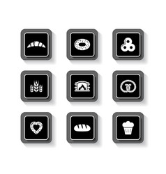 Set of concept bakery products buttons vector