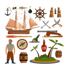 set of sea pirates objects icons and vector image