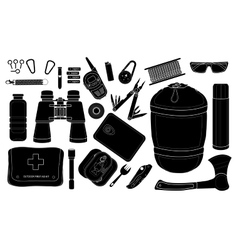 Set of survival camping equipment Silhouettes vector