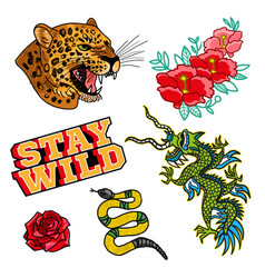 Set stickers or patches vector