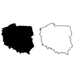 Simple only sharp corners map poland drawing vector
