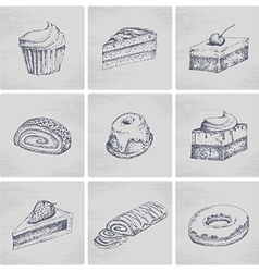 Sketch cake icons vector image