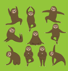Sloth yoga different poses set all elements vector