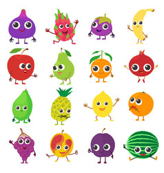 smiling fruit icons set cartoon style vector image
