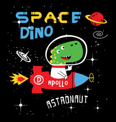 space dino cartoon vector image