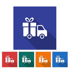 Square icon of delivery car flat style with long vector