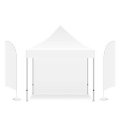 Square promo canopy tent with two flags vector