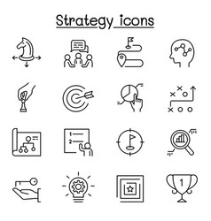 strategy planing icon set in thin line style vector image