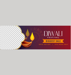 Stylish diwali discount banner with image space vector