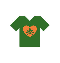 t-shirt with heart symbol and cannabis leaf vector image