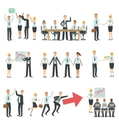 Teamwork in business work process and building vector