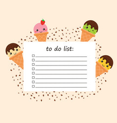 To do list with doodles ice cream vector