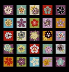 twenty five Asian flowers vector image