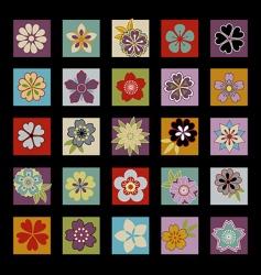 Twenty five asian flowers vector