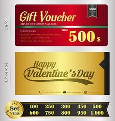 Valentine Day Gift voucher template vector image