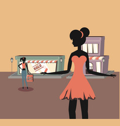 women with handbag shopping retro store commerce vector image