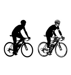Xabicyclist sketch and silhouette vector