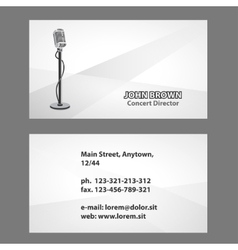 business card with microphone vector image vector image
