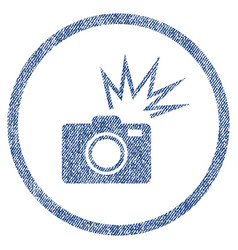 Camera flash rounded fabric textured icon vector