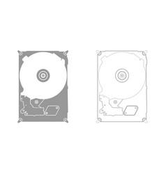 hard drive disk grey set icon vector image