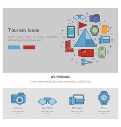icons recreational tourism vector image vector image