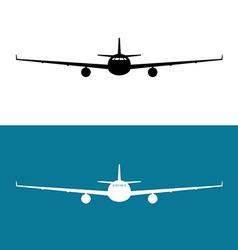 Passenger plane front view black silhouette vector image