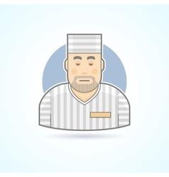 Prisoner inmate jailed man in prison robe icon vector