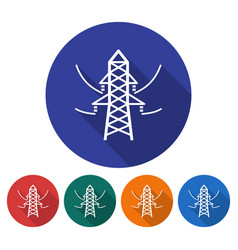 round icon of power transmission pole flat style vector image