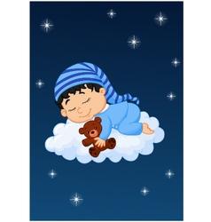 Baby sleeping on the cloud vector