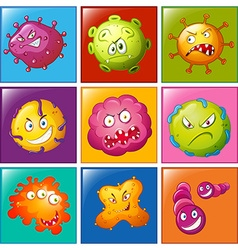 Bacteria with faces on badge vector