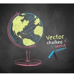Chalk drawn globe vector image vector image