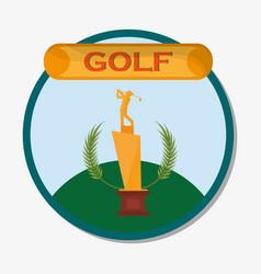 golf golden trophy award emblem vector image
