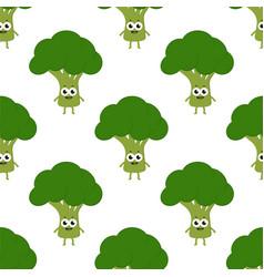 pattern with cartoon broccoli vector image vector image