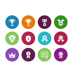 Trophy and cup circle icons on white background vector image