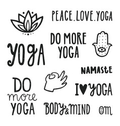 yoga quotes set of hand drawn lettering vector image vector image