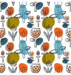 floral seamless pattern as scandinavian textile vector image