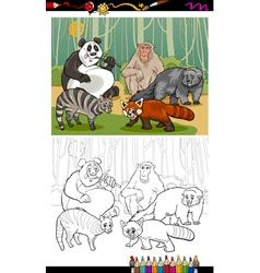 funny animals cartoon coloring book vector image