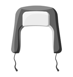 Hat with earflaps icon gray monochrome style vector image vector image