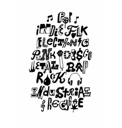 Music styles hand drawn poster vector image
