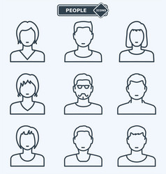 people icons linear flat style vector image vector image