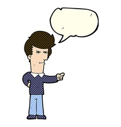 cartoon man pointing with speech bubble vector image